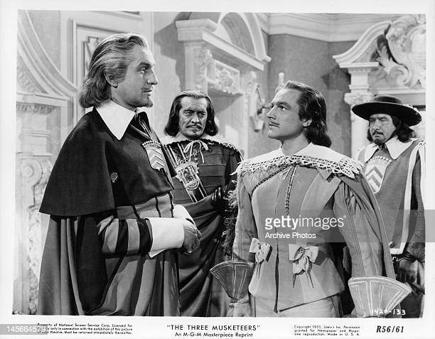 Vincent Price looking at Gene Kelly in a scene from the film 'The Three Musketeers' 1948