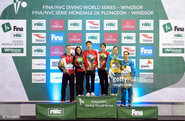 Vincent Riendeau and Meaghan Benfeito of Canada win Silver Jie Lian and Junjie Lian of China win Gold and Melissa Wu and Dominic Bedggood of...