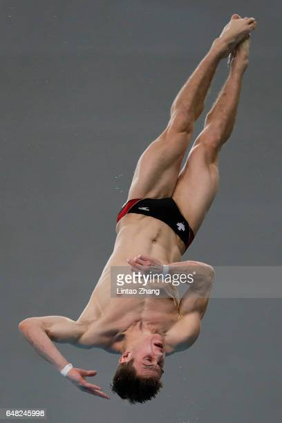Vincent Riendeau of Canada compete in the Men's 10m Platform final on day three of the FINA/NVC Diving World Series 2017 Beijing Station at the...