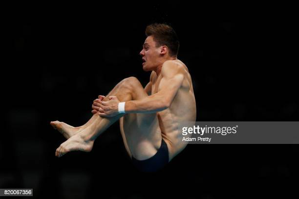 Vincent Riendeau of Canada competes during the en's Diving 10m Platform preliminary round on day eight of the Budapest 2017 FINA World Championships...
