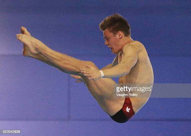 Vincent Riendeau of Canada competes in the Men's 10m Final during Day Three of the FINA/NVC Diving World Series 2016 at the Windsor International...