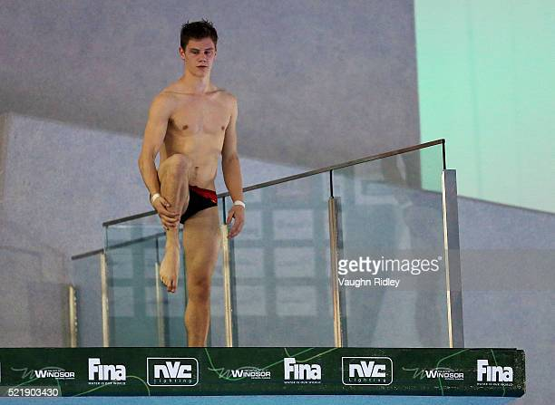Vincent Riendeau of Canada competes in the Men's 10m Semifinals during Day Three of the FINA/NVC Diving World Series 2016 at the Windsor...