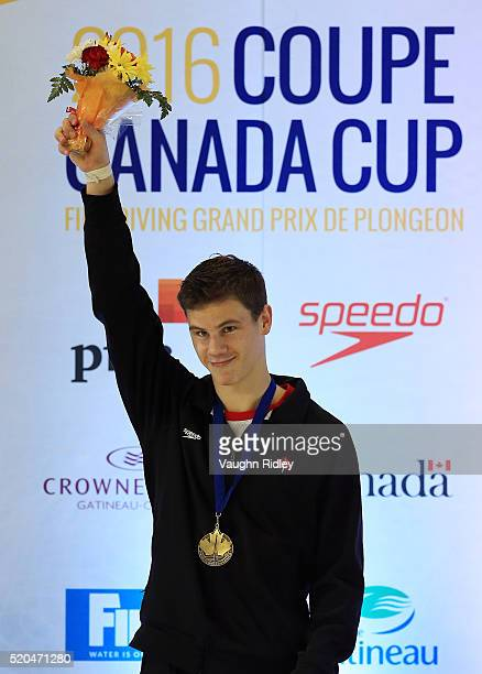 Vincent Riendeau of Canada wins Gold in the Men's 10m Final during Day Three of the FINA Diving Grand Prix at Centre Sportif de Gatineau on April 09...