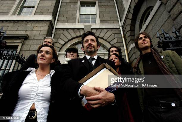 Vincent Salafia Public Relations Officer for the Save Tara Skryne Valley Group pictured with supporters outside Custom House Dublin where they were...