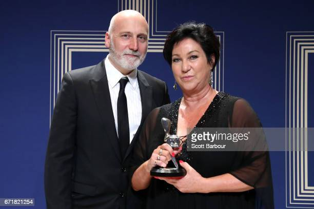 Vincent Sheehan and Victoria Madden pose with the Logie Award for Most Outstanding Miniseries or Telemovie 'The Kettering Incident' during the 59th...