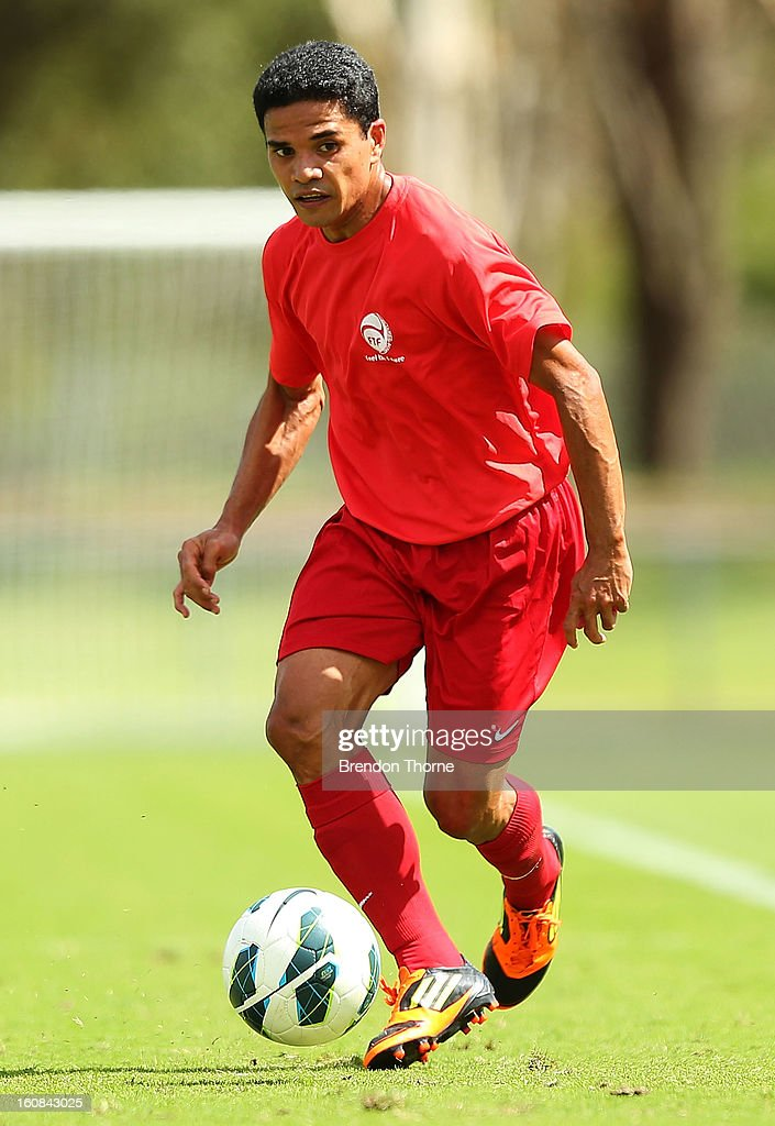 Vincent Simon of Tahiti controls the ball during the friendly match between Sydney FC and Tahiti at Macquarie Uni on February 6, 2013 in Sydney, Australia.