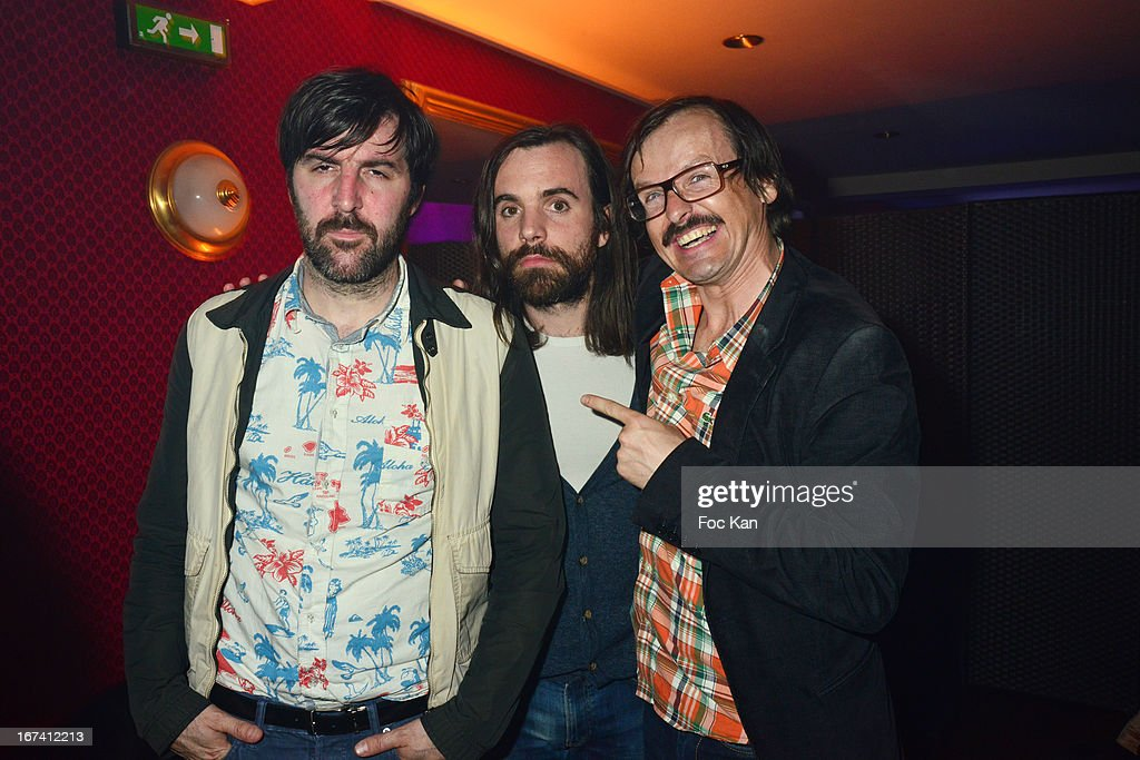 Vincent Taeger from Poni Hoax band, Vicent Taurelle Albert and Philippe Risotto from the Airnadette band attend the Villa Schweppes Launch Party For Cannes Film Festival 2013 At Salle Wagram on April 24, 2013 in Paris, France.