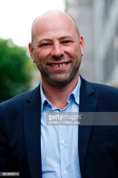Vincent Thiebaut candidate for the Bas Rhin 9 constituency for the party La Republique en Marche poses at the entrance of the Quai Branly museum...