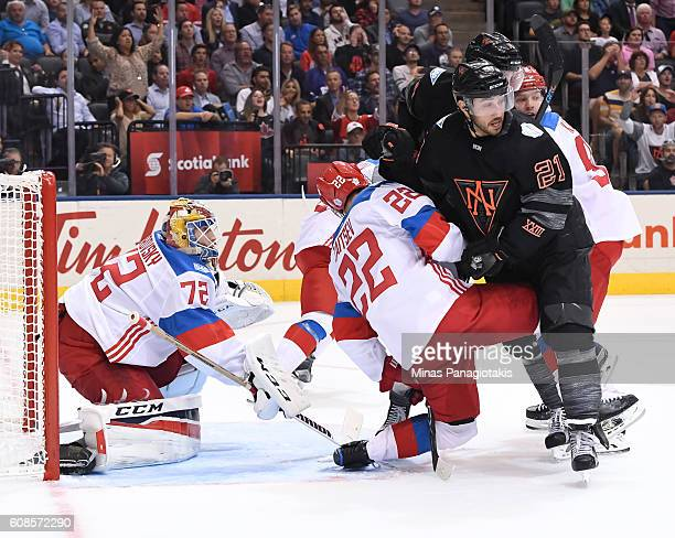 Vincent Trocheck of Team North America collides with Nikita Zaitsev in front of Sergei Bobrovsky during the World Cup of Hockey 2016 at Air Canada...