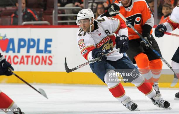 Vincent Trocheck of the Florida Panthers skates against the Philadelphia Flyers on October 17 2017 at the Wells Fargo Center in Philadelphia...