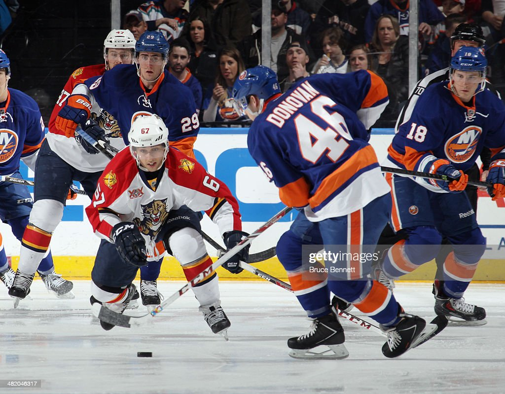 Vincent Trocheck #67 of the Florida Panthers skates against the New York Islanders at the Nassau Veterans Memorial Coliseum on April 1, 2014 in Uniondale, New York. The Islanders defeated the Panthers 4-2.