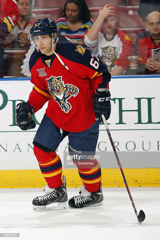 Vincent Trocheck #67 of the Florida Panthers skates on the ice prior to the start of the game against the Columbus Blue Jackets at the BB&T Center on April 12, 2014 in Sunrise, Florida.