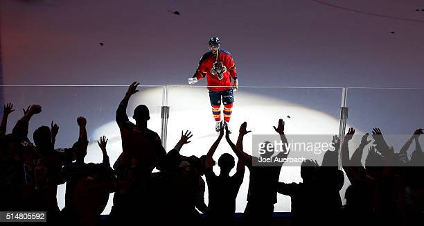 Vincent Trocheck of the Florida Panthers skates towards the fans after being voted to the number one star of the game against the Ottawa Senators at...