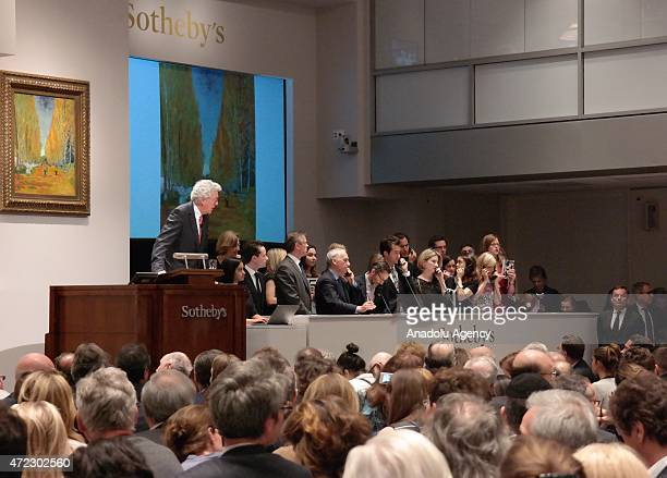 Vincent van Gogh's painting known as Lallée Des Alyscamps' sold for $663 million during an auction at Sotheby's in New York United States on May 6...