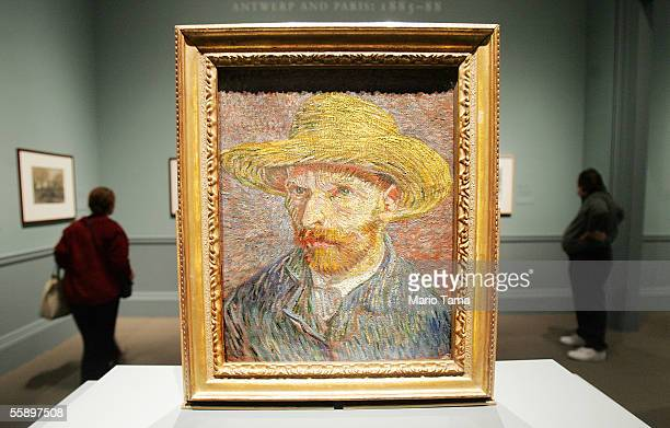 Vincent Van Gogh's painting 'Self Portrait with a Straw Hat' is displayed at the exhibit 'Vincent Van Gogh The Drawings' during a press previewat the...