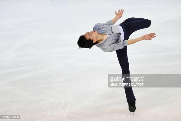 US Vincent Zhou performs during the men's short program during event of the Internationaux de France ISU Grand Prix of Figure Skating in Grenoble...