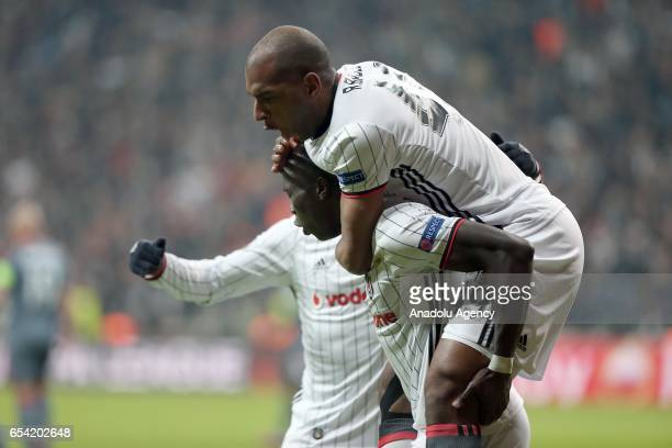 Vincente Aboubakar of Besiktas celebrates his goal with Babel during the UEFA Europa League Round 16 secondleg match between Besiktas and Olympiacos...