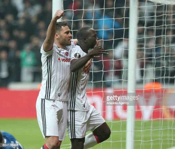 Vincente Aboubakar of Besiktas celebrates with Dusko Tosic after scoring during the UEFA Europa League Round 16 secondleg match between Besiktas and...