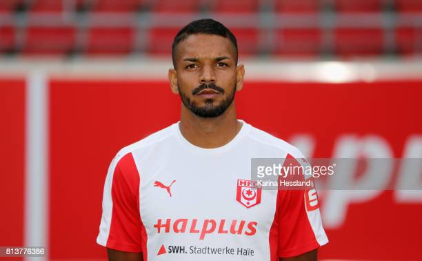 VincentLouis Stenzel of Hallescher FC poses during the team presentation at on July 13 2017 in Halle Germany
