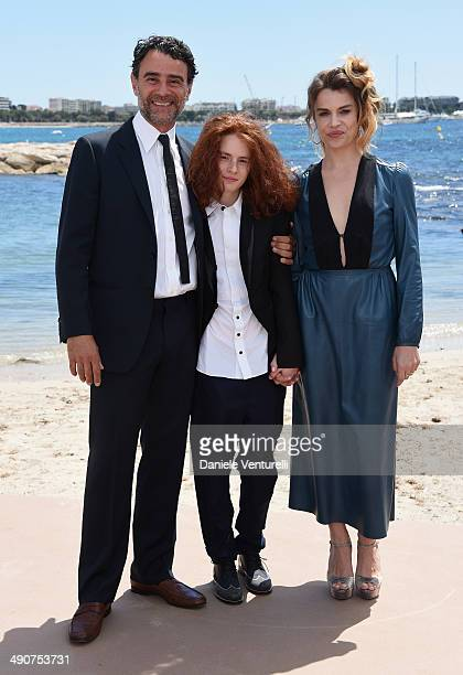 Vincenzo Amato Davide Capone and Micaela Ramazzotti attends the 'Piu' Buio Di Mezzanotte' Photocalll during the 67th Annual Cannes Film Festival on...