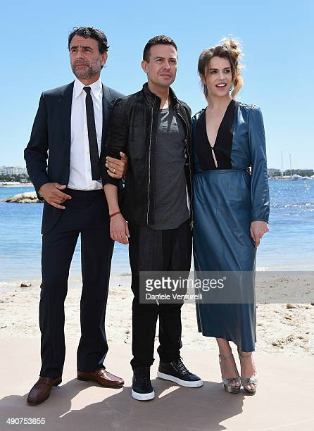 Vincenzo Amato Sebastiano Riso and Micaela Ramazzotti attend the 'Piu' Buio Di Mezzanotte' Photocalll during the 67th Annual Cannes Film Festival on...