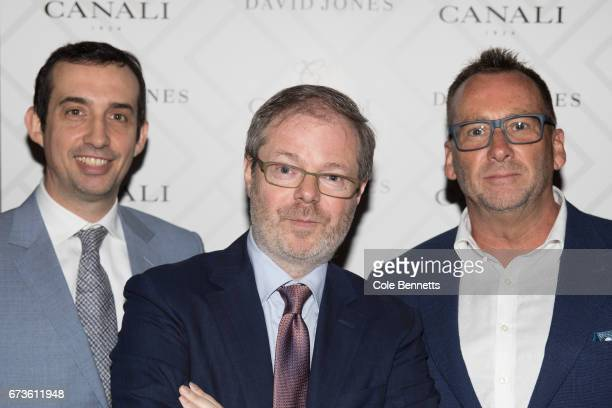 Vincenzo and Paolo Canali and Glenn Elliott arrive at the David Jones Canali Launch at Restaurant Hubert on April 27 2017 in Sydney Australia