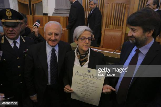 Vincenzo De Luca Governor of Campania Elena De Curtis Toto nephew Dario Franceschini minister during a moment of the grant of an honorary degree at...