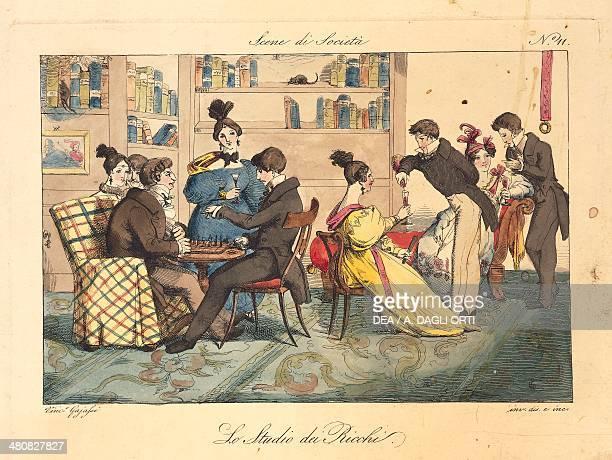 Vincenzo Gaiatti Society scene the wealthy's study 1832 Rome Istituto Nazionale per la Grafica Gabinetto Nazionale dei Disegni e delle Stampe