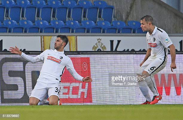 Vincenzo Grifo and Amir Abrashi of Freiburg celebrate during the Second Bundesliga match between Arminia Bielefeld and SC Freiburg at Schueco Arena...