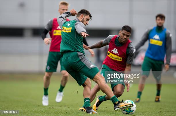 Vincenzo Grifo and Kwame Yeboah during a training session of Borussia Moenchengladbach at BorussiaPark on July 02 2017 in Moenchengladbach Germany