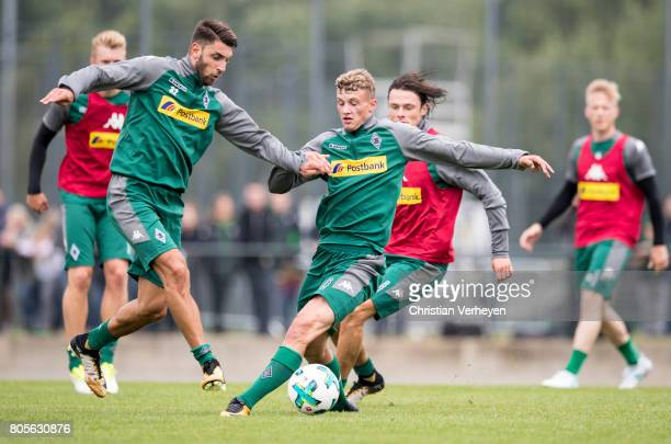 Vincenzo Grifo and Mickael Cuisance during a training session of Borussia Moenchengladbach at BorussiaPark on July 02 2017 in Moenchengladbach Germany