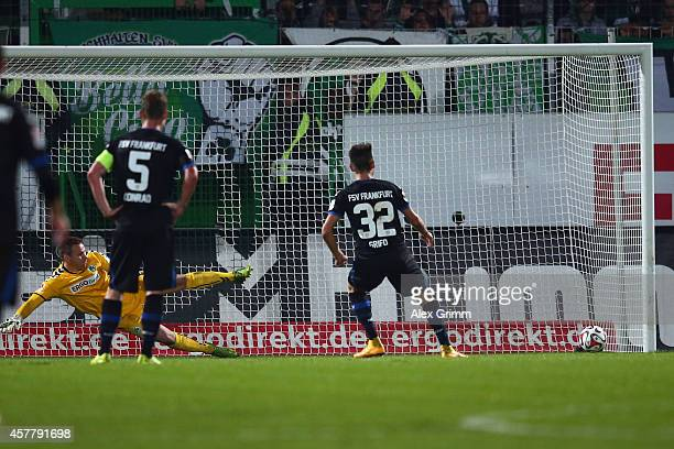 Vincenzo Grifo of Frankfurt scores his team's fifth goal with a penalty against goalkeeper Tom Mickel of Greuther Fuerth during the Second Bundesliga...
