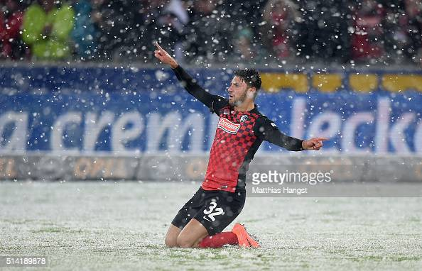 Vincenzo Grifo of Freiburg celebrates after scoring his team's first goal during the Second Bundesliga match between SC Freiburg and RB Leipzig at...