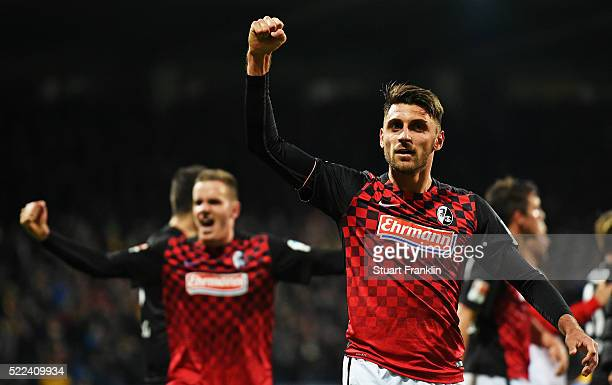 Vincenzo Grifo of Freiburg celebrates during the second Bundesliga match between Eintracht Braunschweig and SC Freiburg on April 18 2016 in...