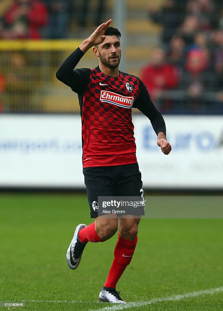 Vincenzo Grifo of Freiburg celebrates his team's first goal during the Second Bundesliga match between SC Freiburg and Fortuna Duesseldorf at Schwarzwald-Stadion on February 14, 2016 in Freiburg im Breisgau, Germany.