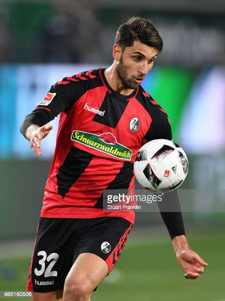 Vincenzo Grifo of Freiburg in action during the Bundesliga match between VfL Wolfsburg and SC Freiburg at Volkswagen Arena on April 5 2017 in...