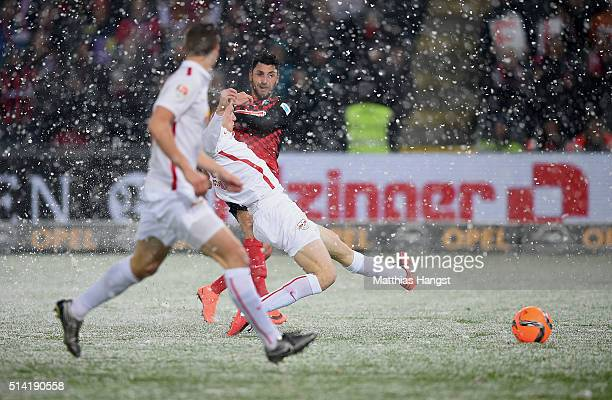 Vincenzo Grifo of Freiburg scores his team's first goal during the Second Bundesliga match between SC Freiburg and RB Leipzig at SchwarzwaldStadion...