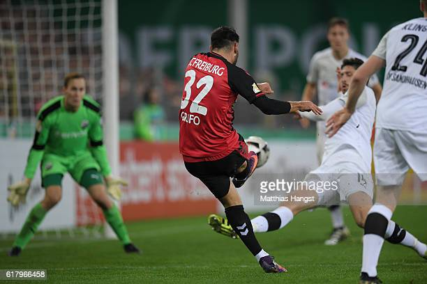 Vincenzo Grifo of Freiburg scores his team's second goal during the DFB Cup match between SC Freiburg and SV Sandhausen at SchwarzwaldStadion on...