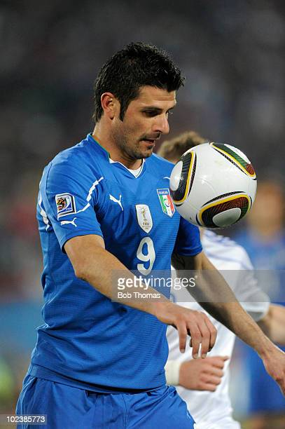 Vincenzo Iaquinta of Italy controls the ball during the 2010 FIFA World Cup South Africa Group F match between Slovakia and Italy at Ellis Park...