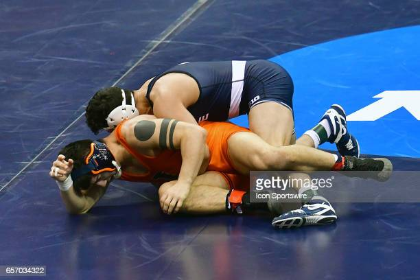 Vincenzo Joseph of Penn State dominated top[ranked Isaiah Martinez of Illinois in the 165pound weight class of the NCAA Wrestling Championships on...