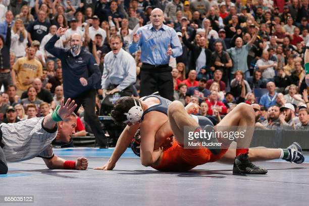 Vincenzo Joseph of Penn State pins Isaiah Martinez of Illinois in the 165lb Championship match during the Division 1 Men's Wrestling Championships...