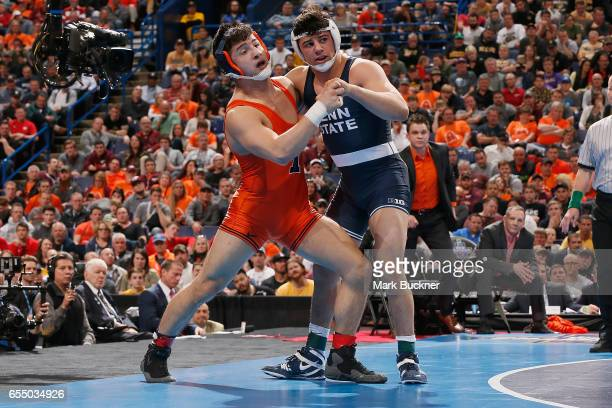 Vincenzo Joseph of Penn State wrestles Isaiah Martinez of Illinois in the 165lb Championship match during the Division 1 Men's Wrestling...
