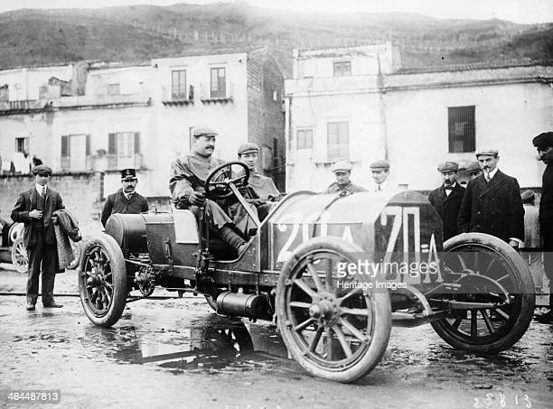 Vincenzo Lancia taking part in the Targa Florio race Sicily April 1907 Driving a Fiat he came second in the race He was the son of an Italian soup...