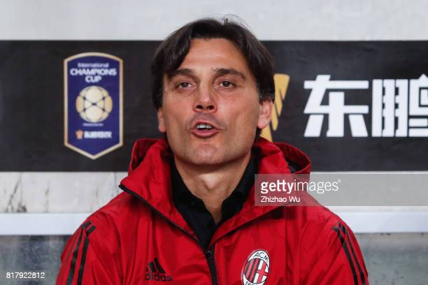 Vincenzo Montella coach of AC Milan at University Town Sports Centre Stadium during the 2017 International Champions Cup match on July 18 2017 in...