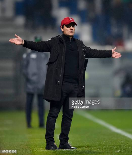 Vincenzo Montella coach of AC Milan gestures during the Serie A football match between US Sassuolo and AC Milan AC Milan won 20 over US Sassuolo