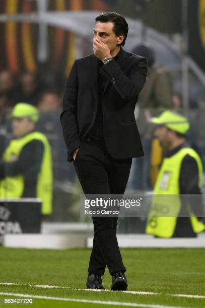 Vincenzo Montella coach of AC Milan looks dejected during the UEFA Europa League football match between AC Milan and AEK Athens The match ended in a...