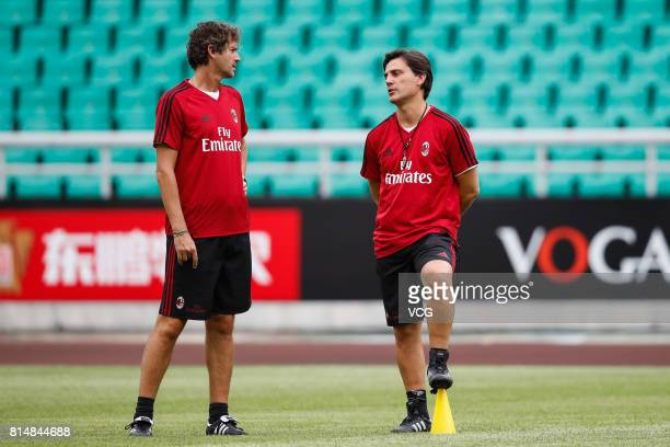 Vincenzo Montella coach of AC Milan looks on during a training session ahead of 2017 International Champions Cup China at University Town Sports...