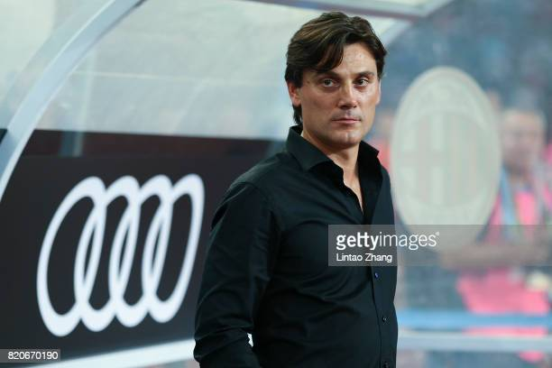Vincenzo Montella coach of AC Milan looks on during the 2017 International Champions Cup China match between FC Bayern and AC Milan at Universiade...