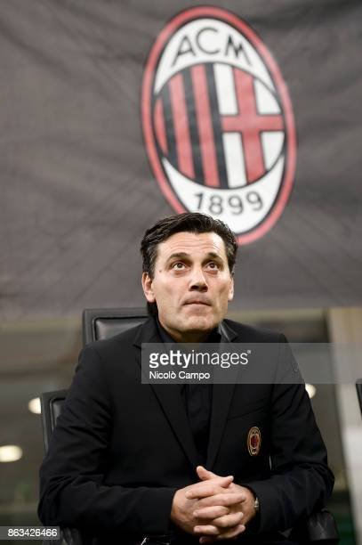 Vincenzo Montella coach of AC Milan looks on prior to the UEFA Europa League football match between AC Milan and AEK Athens The match ended in a 00...