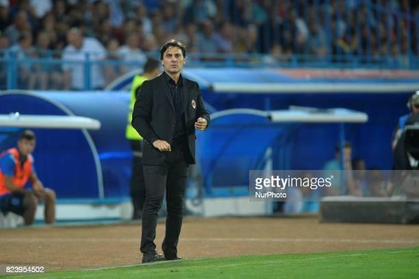 Vincenzo Montella coach of AC Milan reacts on during CSU Craiova v AC Milan UEFA Europa League 2017/2018 Third Qualifying Round in Drobeta Turnu...
